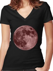 Pink Moon Women's Fitted V-Neck T-Shirt