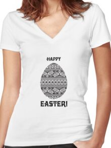 happy easter Women's Fitted V-Neck T-Shirt