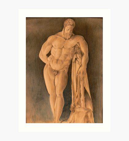 Drawing of Hercules Farnese Uffizi Art Print