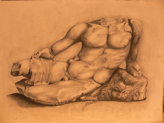 Drawing of Hercules Bust-Louvre by Yianni Digaletos