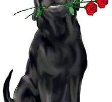 Lbrador Retriever and rose by IowaArtist