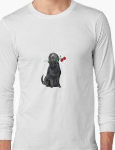 Lbrador Retriever and rose Long Sleeve T-Shirt
