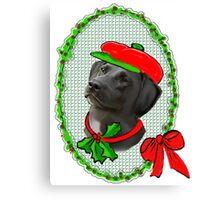 Black Lab Christmas Canvas Print