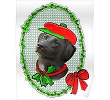 Black Lab Christmas Poster