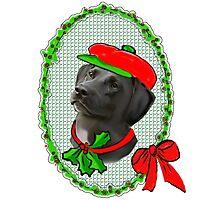 Black Lab Christmas Photographic Print