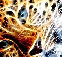 Fractal Cheetah Face Design By Chris McCabe - DRAGAN GRAFIX by Christopher McCabe
