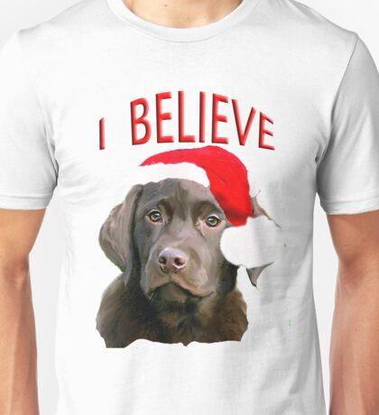 Chocolate Lab Christmas themed Unisex T-Shirt