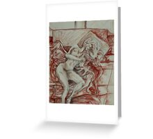 Contentment of the Sleeping Nude (Drawing)- Greeting Card