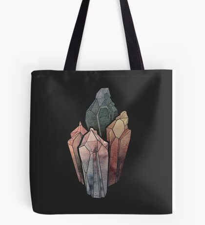 Dark Watercolor Crystals Tote Bag