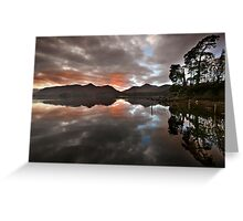 Sunset behind Catbells and Maiden Moor, Derwentwater English Lake District Greeting Card