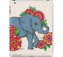 Little Blue Elephant in her secret garden iPad Case/Skin
