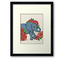 Little Blue Elephant in her secret garden Framed Print