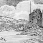 My pencil drawing of Dartmouth and Kingswear Castles, Devon by Dennis Melling