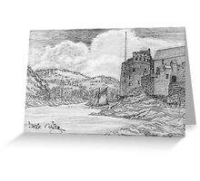My pencil drawing of Dartmouth and Kingswear Castles, Devon Greeting Card