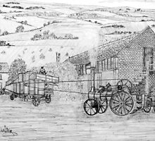 My pencil drawing of Steam Threshing in Yorkshire - all products by Dennis Melling