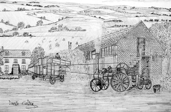 My pencil drawing of Steam Threshing in Yorkshire - all products bar duvet by Dennis Melling