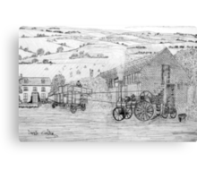 My pencil drawing of Steam Threshing in Yorkshire - all products Canvas Print