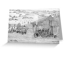 My pencil drawing of Steam Threshing in Yorkshire Greeting Card