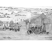 My pencil drawing of Steam Threshing in Yorkshire - all products Photographic Print