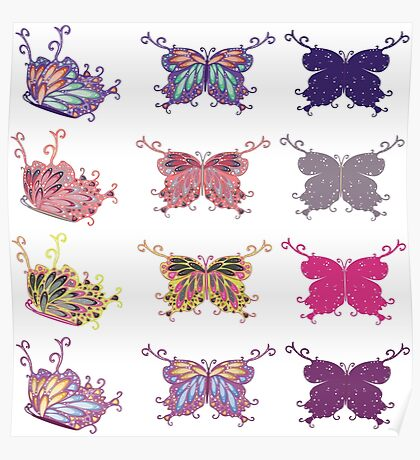 Colored butterflies 4 Poster