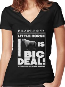 Little horse is big deal. (black) Women's Fitted V-Neck T-Shirt