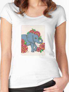 Little Blue Elephant in her secret garden Women's Fitted Scoop T-Shirt