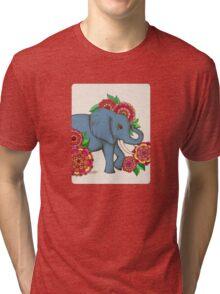 Little Blue Elephant in her secret garden Tri-blend T-Shirt