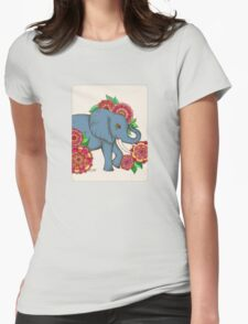 Little Blue Elephant in her secret garden Womens Fitted T-Shirt