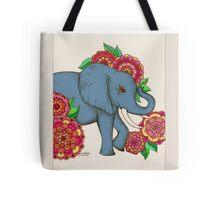 Little Blue Elephant in her secret garden Tote Bag
