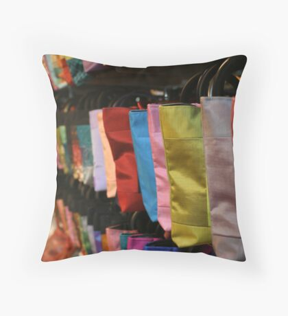 Bags at Central Market - Siem Reap, Cambodia Throw Pillow
