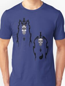 Happy Sad jesters with their Yin and Yang beneath them Unisex T-Shirt