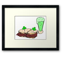 Green Beer And Sandwich Framed Print