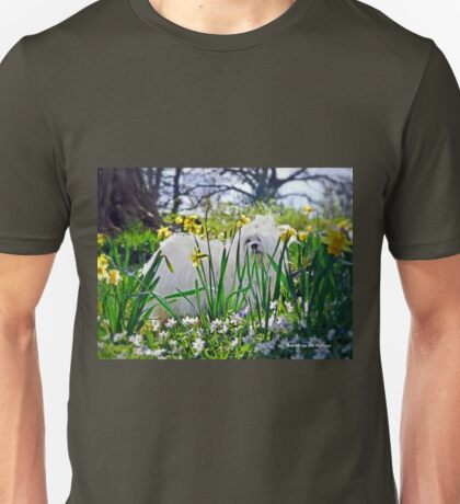 Snowdrop the Maltese & The Pretty Spring Flowers Unisex T-Shirt