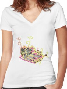 Abstract Fantasy Butterfly 9 Women's Fitted V-Neck T-Shirt