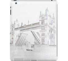 Tower Bridge - Black and White line drawn style iPad Case/Skin