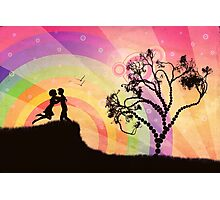 Romantic couple at sunset Photographic Print