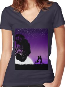 Romantic couple at sunset 2 Women's Fitted V-Neck T-Shirt