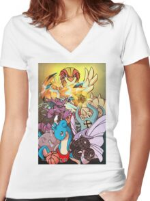 Twitch Plays Pokemon Women's Fitted V-Neck T-Shirt