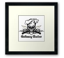 Chef Skull 1: Culinary Genius 3 Black Flames Framed Print
