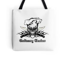 Chef Skull 1: Culinary Genius 3 Black Flames Tote Bag