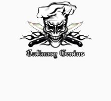 Chef Skull 1: Culinary Genius 3 Black Flames Unisex T-Shirt