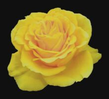 Beautiful Yellow Rose Flower on Black Background Kids Clothes