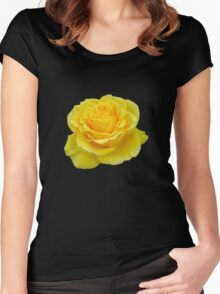 Beautiful Yellow Rose Flower on Black Background Women's Fitted Scoop T-Shirt