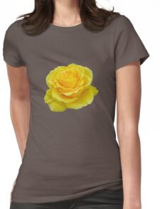 Beautiful Yellow Rose Flower on Black Background Womens Fitted T-Shirt