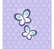 Girly Butterflies Purple Butterfly Dot Photographic Print