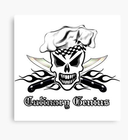 Chef Skull 2: Culinary Genius 3 black flame Canvas Print