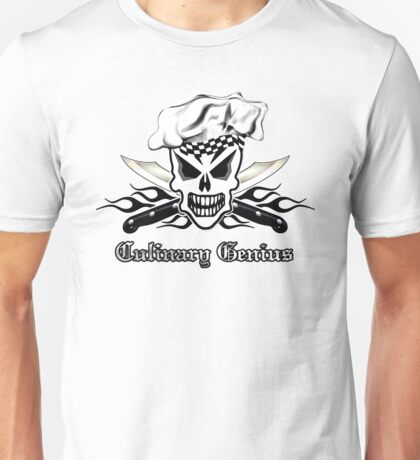 Chef Skull 2: Culinary Genius 3 black flame Unisex T-Shirt