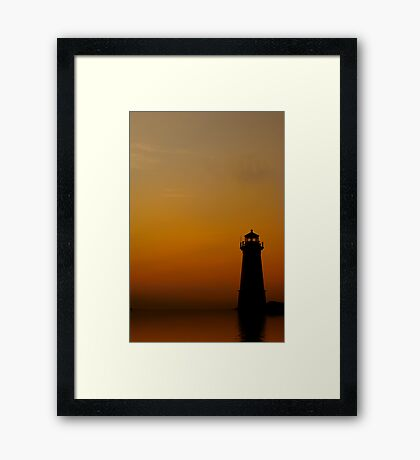 Lighthouse With Reflection Framed Print