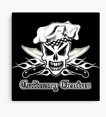 Chef Skull 2: Culinary Genius 3 white flames Canvas Print