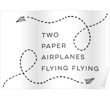 Two paper airplanes flying flying Poster